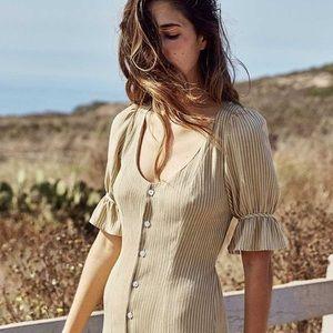 The Lennon Dress in Tan Stripe (Size S)